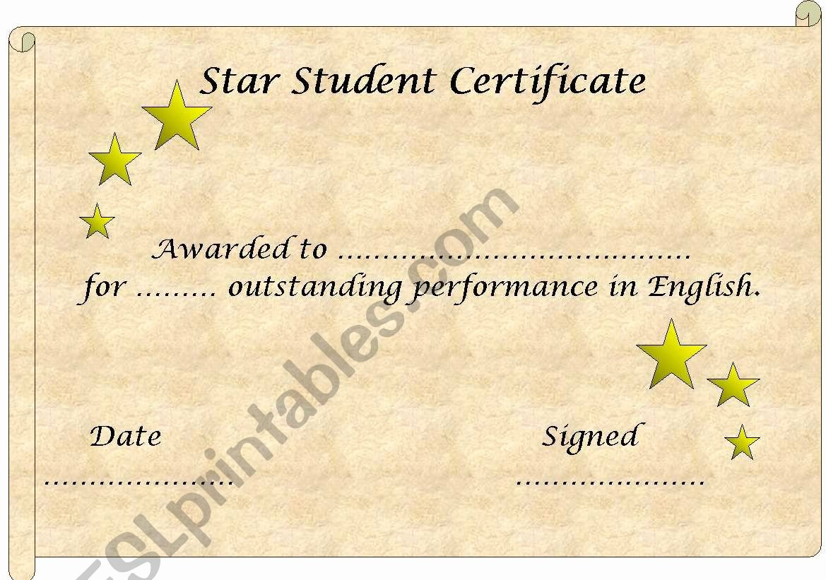 Name A Star Certificate Template Free Lovely English Worksheets Star Student Certificate Template