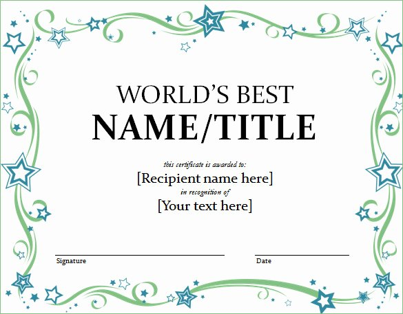 Name A Star Certificate Template Free Luxury Word Certificate Template 53 Free Download Samples