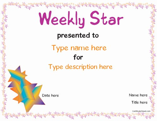 Name A Star Certificate Template Free Unique Education Certificates Weekly Star