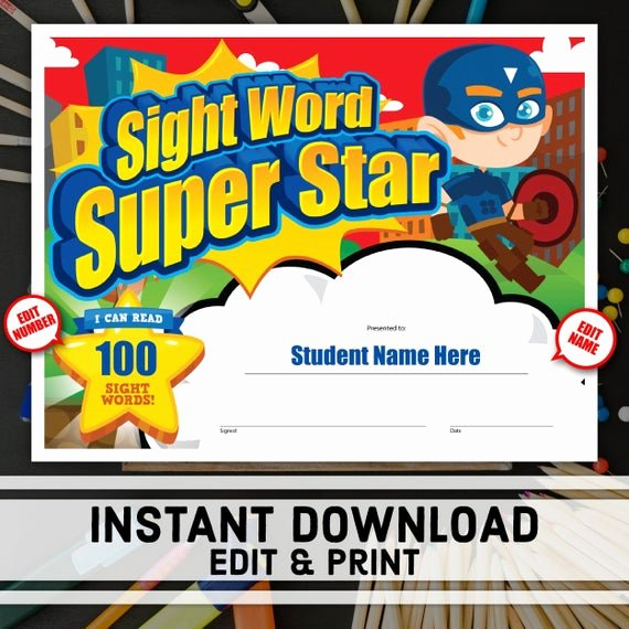 Name A Star Certificate Template Fresh Sight Word Super Star Certificate Instant Download