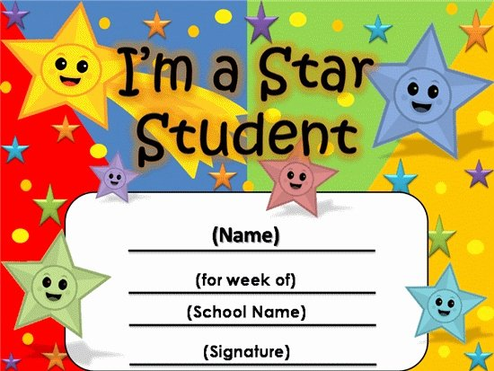 Name A Star Certificate Template Fresh Student the Week Certificate 2