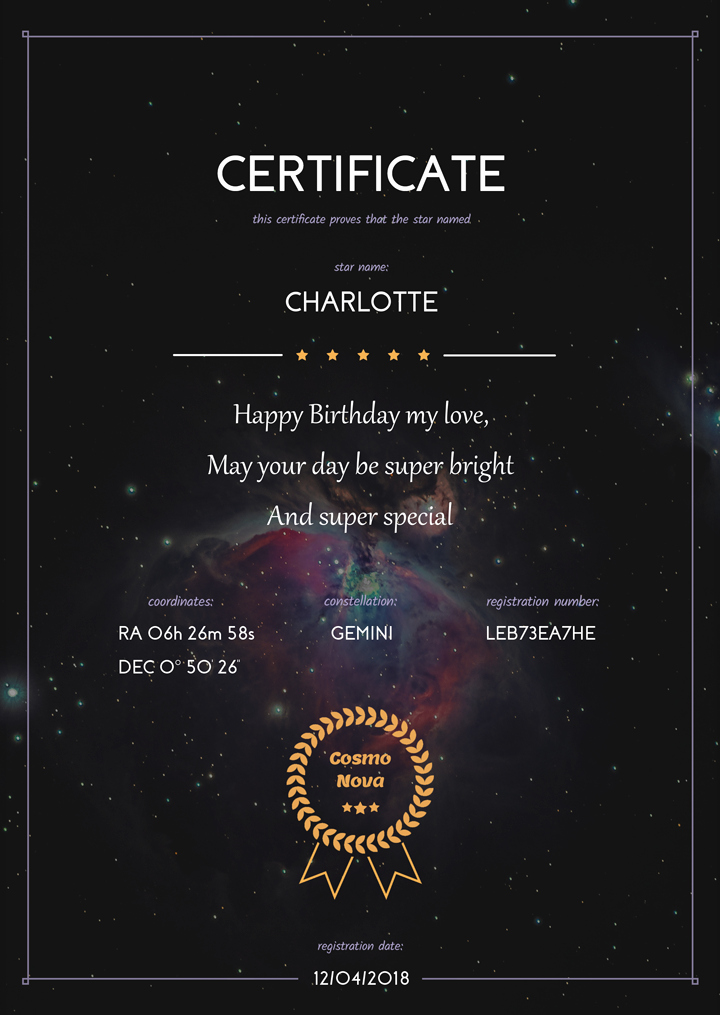 Name A Star Certificate Template Lovely Name A Binary Star Gift Pack – Cosmonova