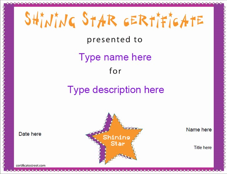 Name A Star Certificate Template Luxury Education Certificates Shining Star Award