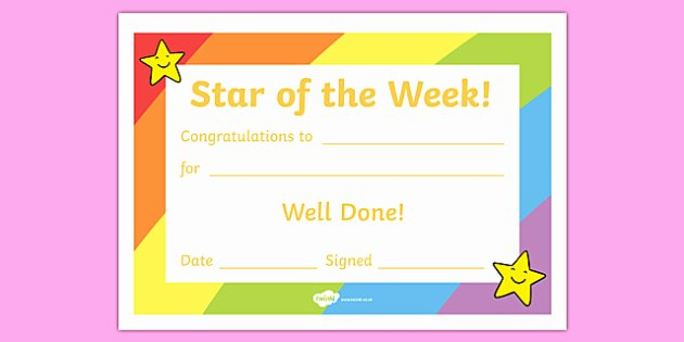 Name A Star Certificate Template Unique Free Star Of the Week Award Certificate for Good Behaviour