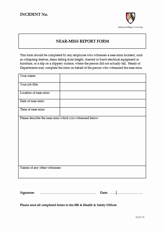 Near Miss Reporting Template Inspirational 6 Near Miss Reporting form Examples You'll Want to Copy
