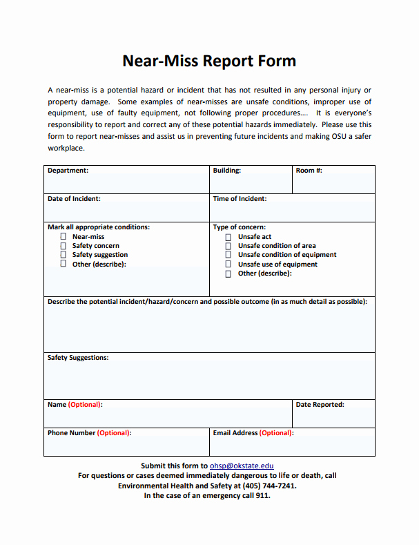 Near Miss Reporting Template New 6 Near Miss Reporting form Examples You'll Want to Copy