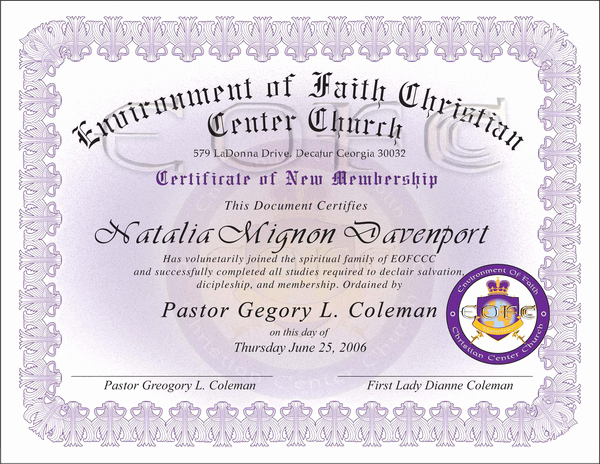 New Member Certificates Church New Church Membership Certificate
