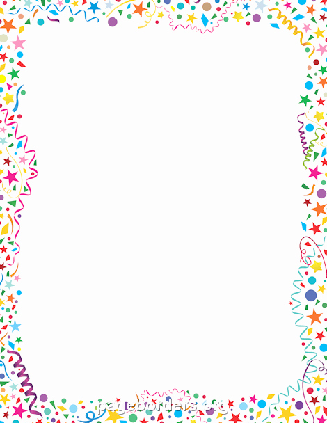 New Years Page Border Elegant Confetti Border Clip Art Page Border and Vector Graphics