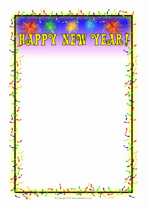 New Years Page Border Lovely Happy New Year A4 Page Borders