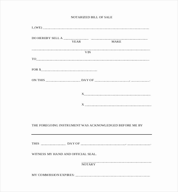 New York State Bill Of Sale form Fresh Free 10 Sample Blank Bill Of Sale forms