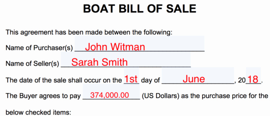 New York State Bill Of Sale form Inspirational Free Boat Vessel Bill Of Sale form Pdf Word