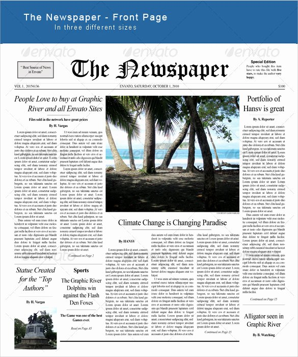 New York Times Newspaper Template Google Docs Inspirational Sample Newspaper Front Page Template 6 Documents In Pdf