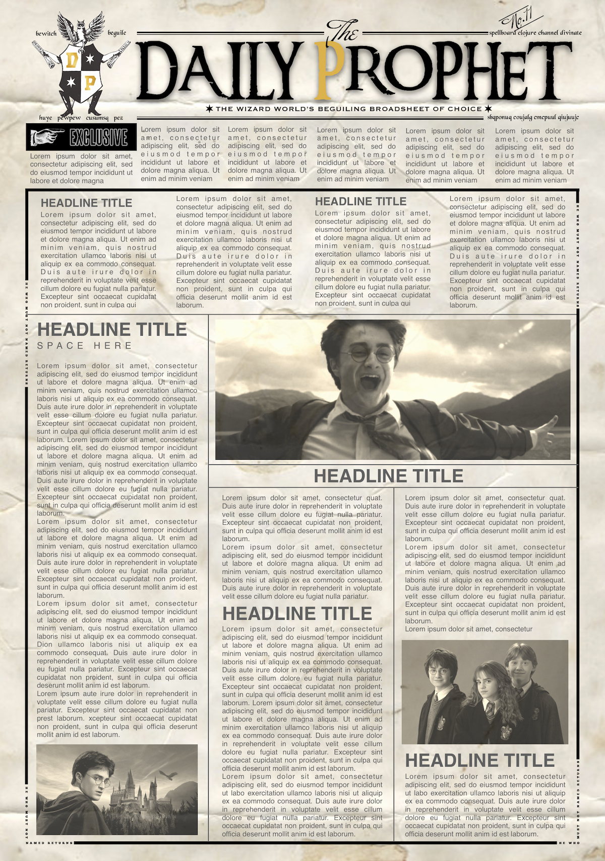 New York Times Newspaper Template Google Docs Lovely Daily Prophet Newspaper Template Harry Potter Word