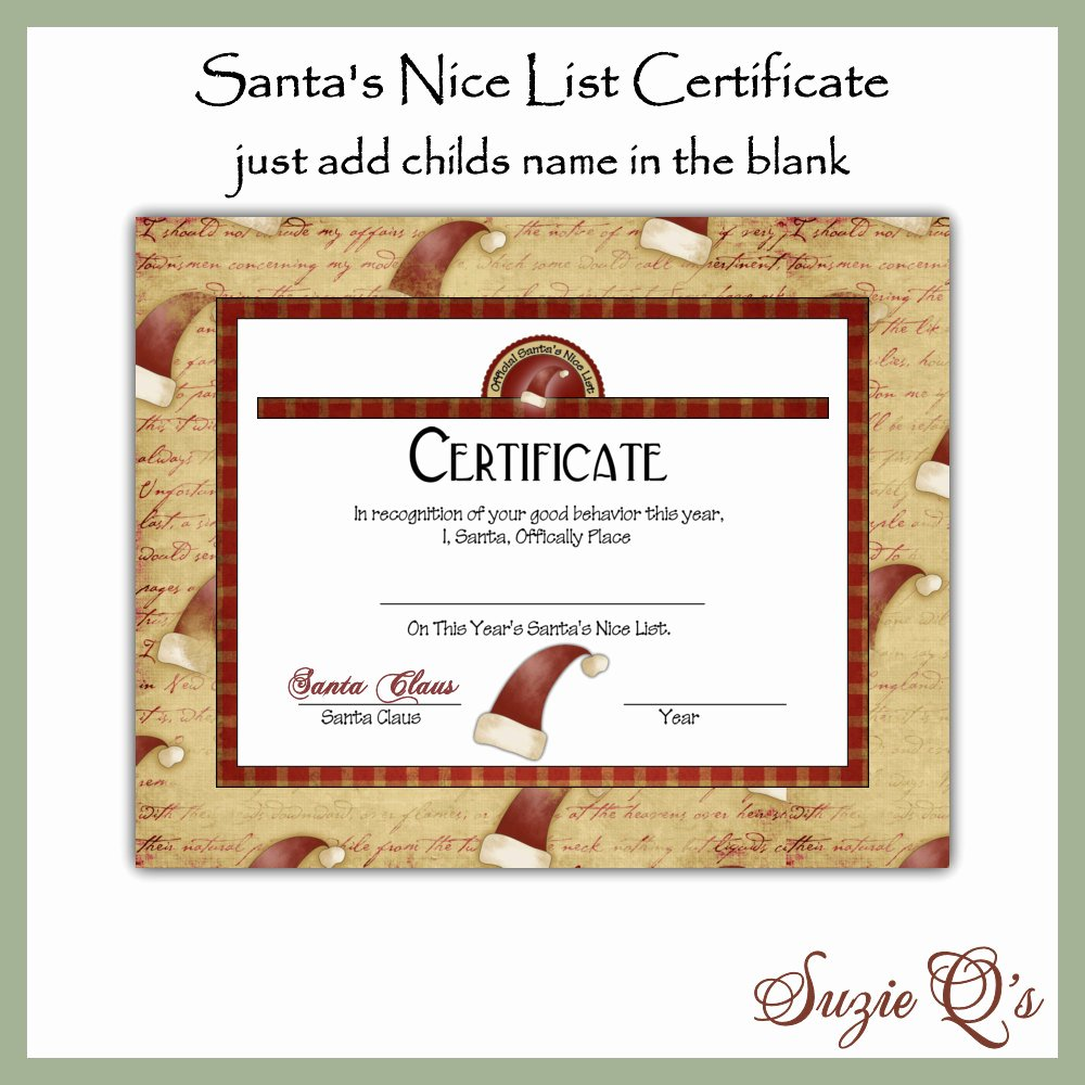 Nice List Certificate Free Printable Awesome Santa S Nice List Certificate Digital Printable by