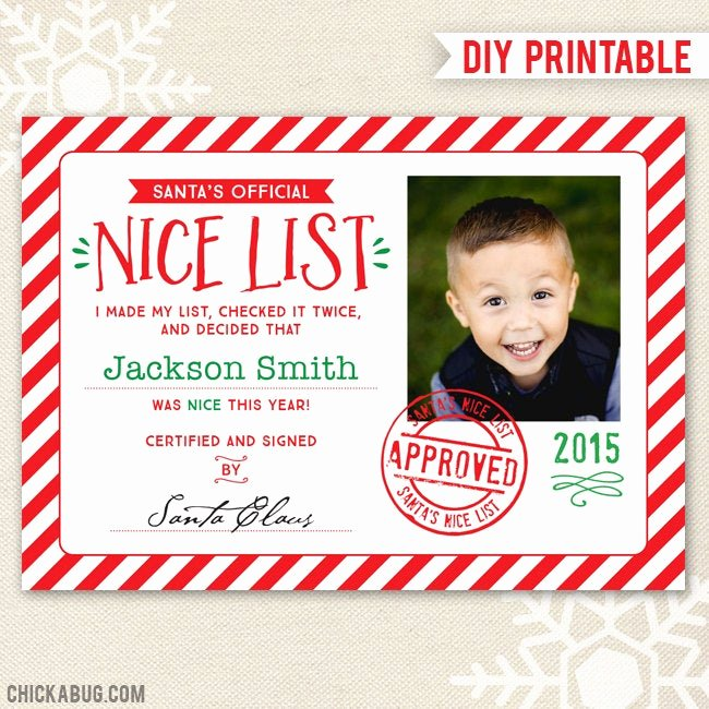 Nice List Certificate Free Printable Awesome Santa S Nice List Certificate Diy Printable Ficial by