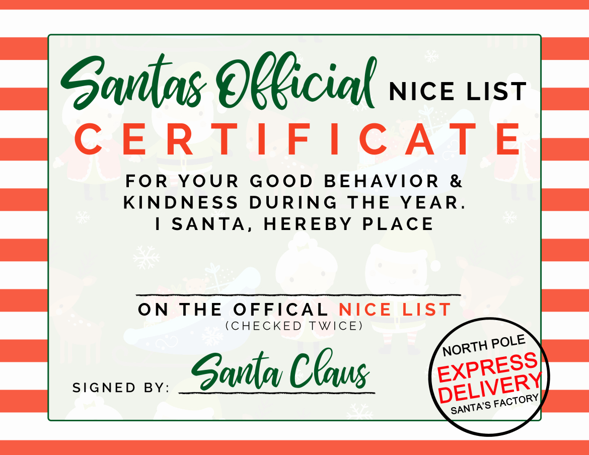 Nice List Certificate Free Printable Awesome Santas Ficial Nice List Certificate – Free Printable
