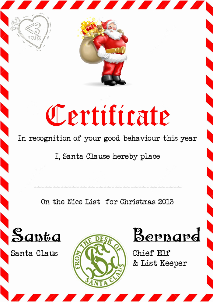 Nice List Certificate Free Printable Best Of 3 Piece Printable Christmas Letter From Santa