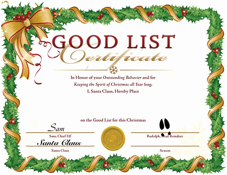Nice List Certificate Free Printable Fresh Free Santa S at the Buns