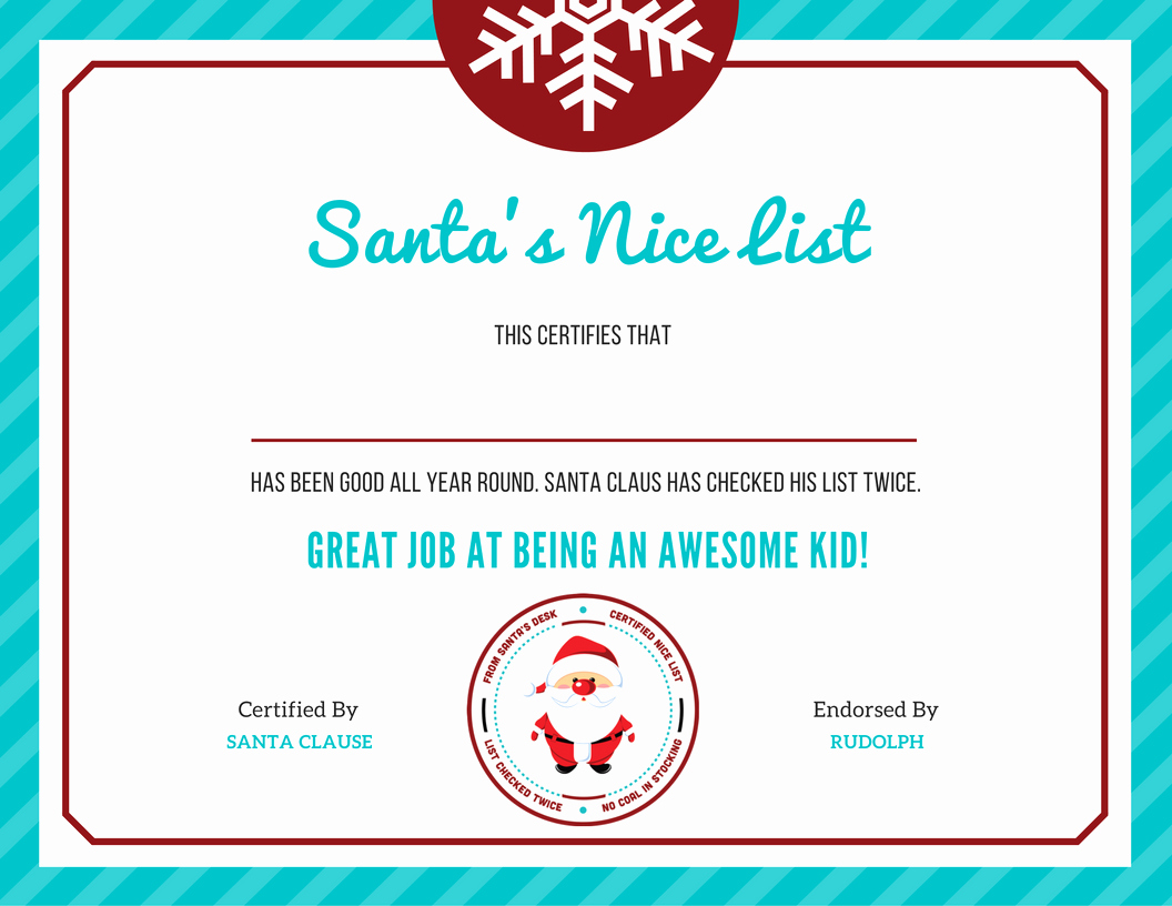 """Nice List Certificate Free Printable Lovely Free Letter to Santa Template with """"nice List"""" Certificate"""