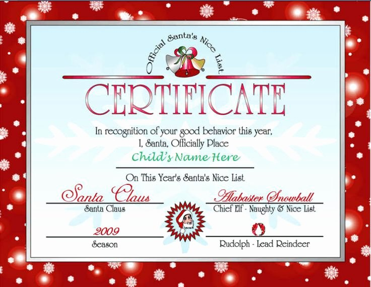 Nice List Certificate Free Printable Luxury Letter Santa