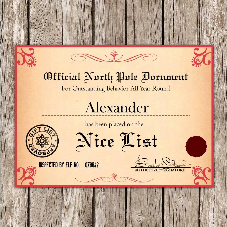 Nice List Certificate Free Printable Luxury Santa S Nice List Certificate From the north Pole