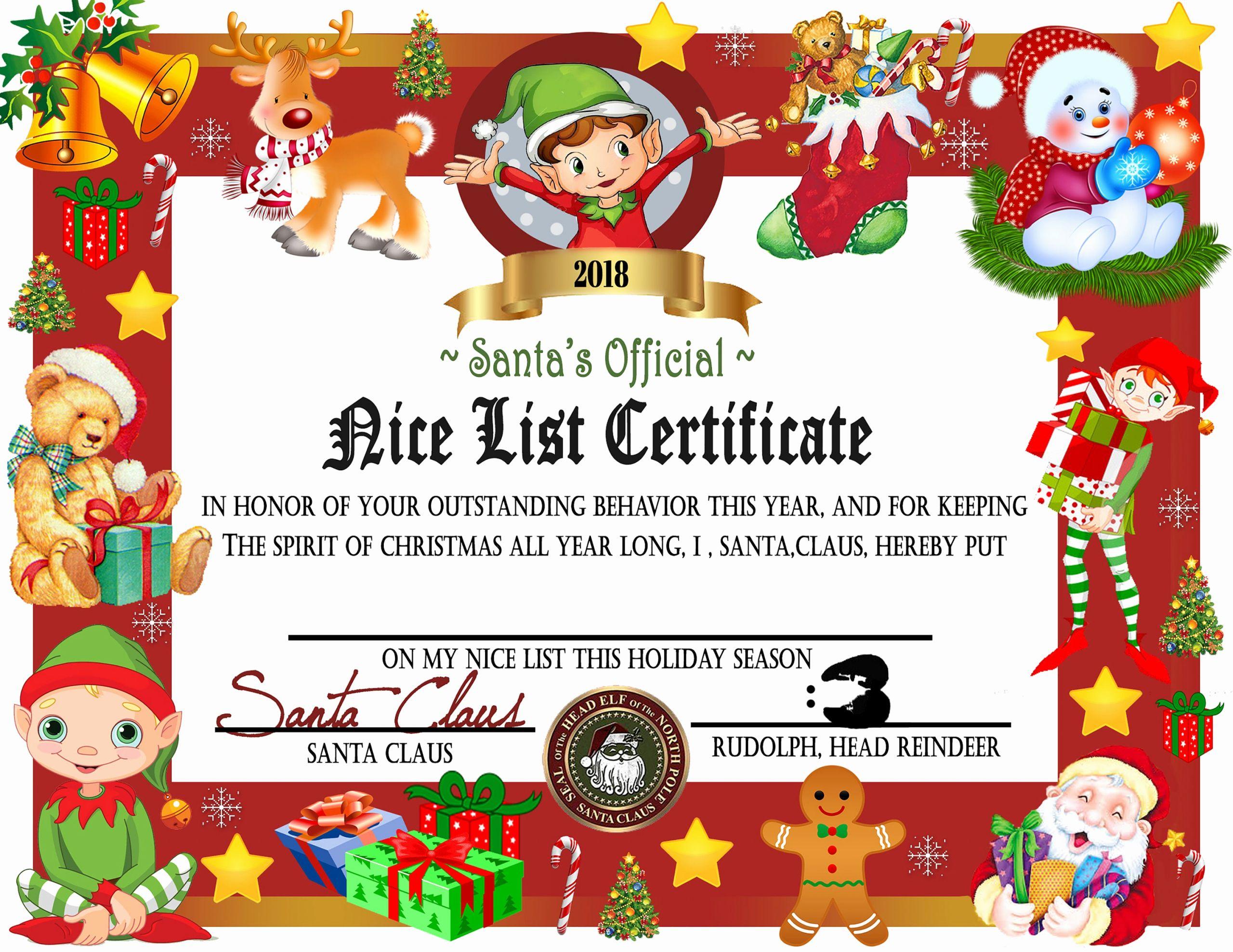 Nice List Certificate Free Printable New Printable Nice List Certificate Instant Download Nice List