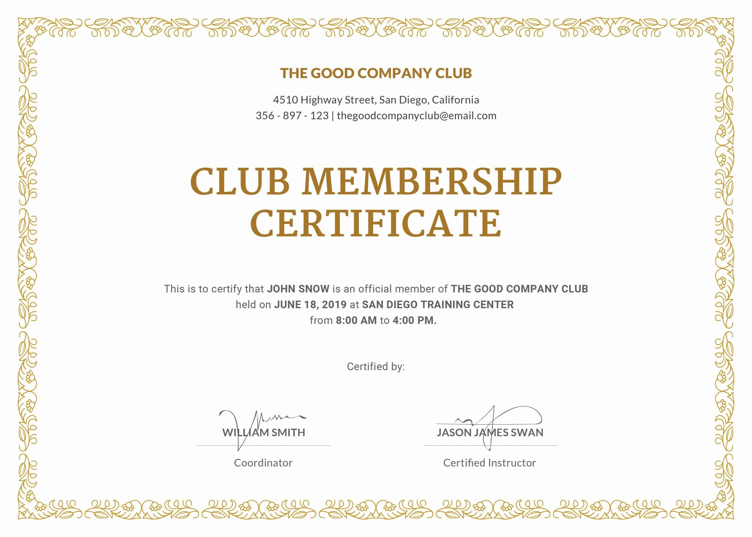 Njhs Certificate Of Membership Template Inspirational Membership Certificate Template