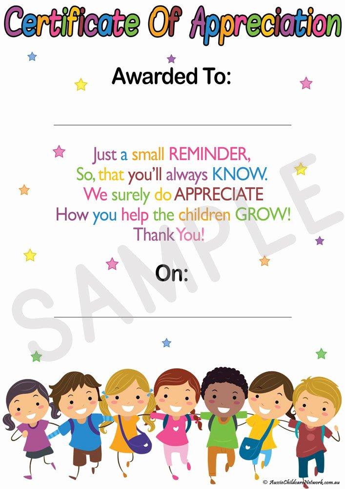 Njhs Certificate Of Membership Template New Educator S Certificate Appreciation Aussie Childcare