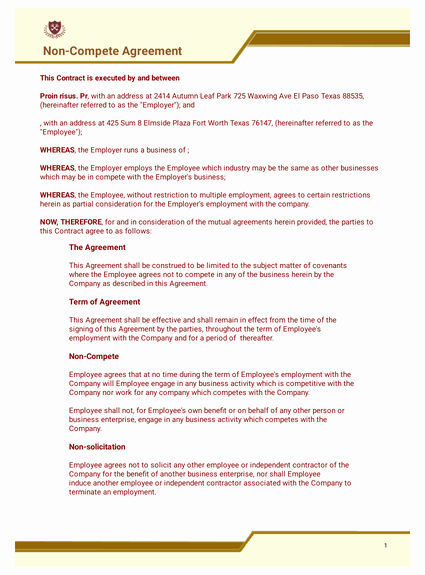 No Compete Contract Template Awesome Free Non Pete Agreement Template Pdf Templates