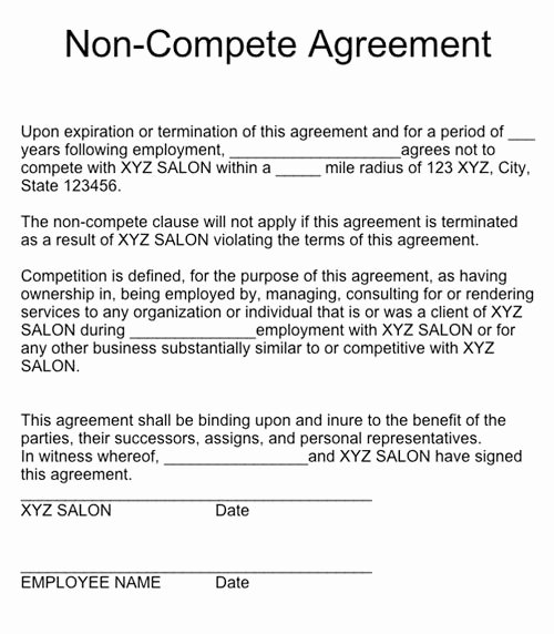 No Compete Contract Template Awesome Non Pete Agreement form – Emmamcintyrephotography