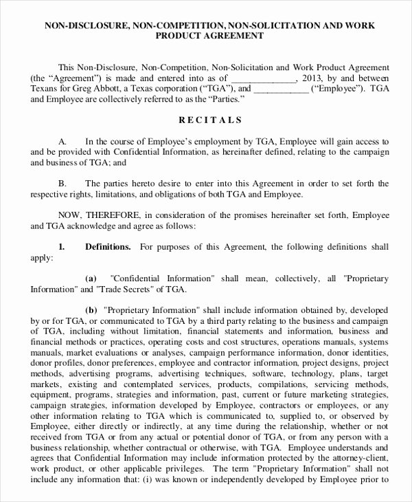 No Compete Contract Template Best Of Non Disclosure Non Pete Agreement 15 Free Word Pdf