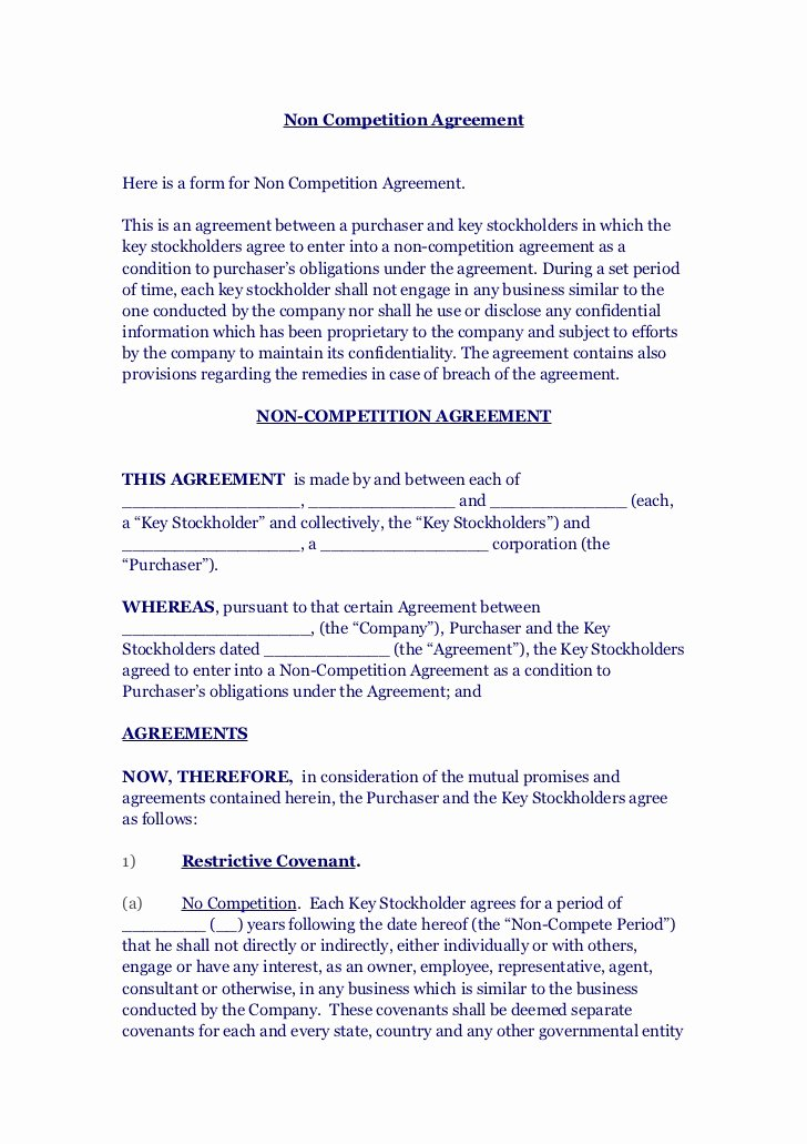 No Compete Contract Template Fresh Non Petition Agreement