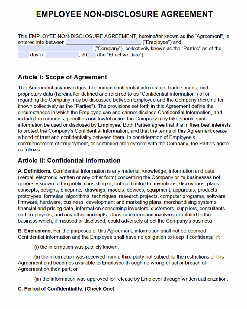 No Compete Contract Template Inspirational Human Resources Confidentiality Agreement Sample