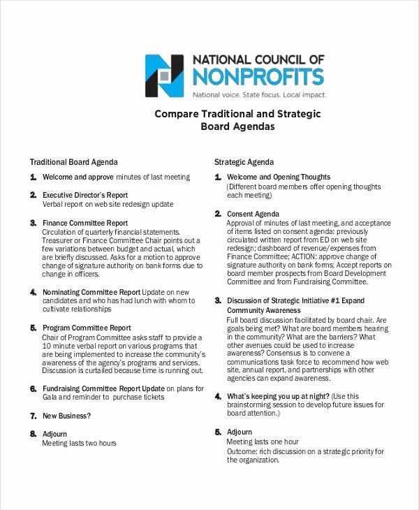 Nonprofit Board Meeting Agenda Template Beautiful Free 6 Nonprofit Agenda Examples & Sample In Pdf