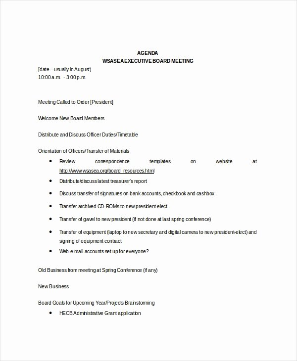Nonprofit Board Meeting Agenda Template Best Of Board Meeting Agenda Template – 10 Free Word Pdf