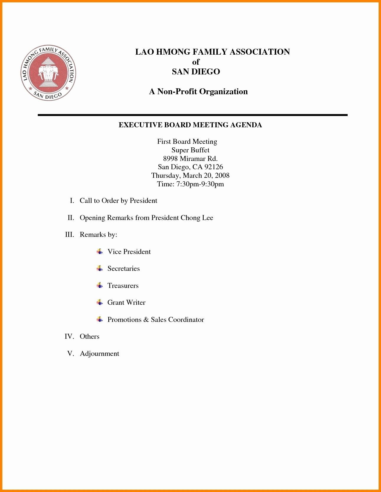 Nonprofit Board Meeting Agenda Template Best Of Nonprofit Board Meeting Agenda Template 2018