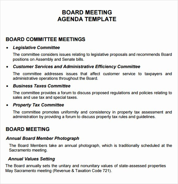 sample board meeting agenda