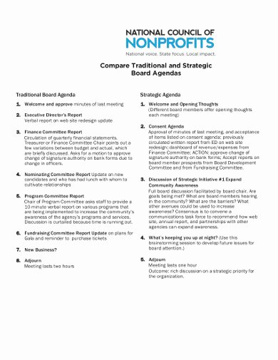 Nonprofit Board Meeting Agenda Template New 7 Nonprofit Agenda Templates In Pdf