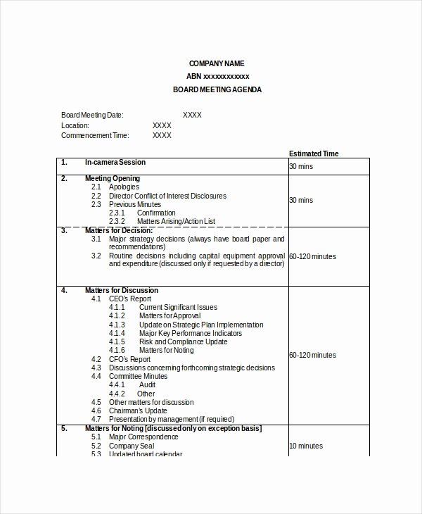Nonprofit Board Meeting Agenda Template Unique Board Meeting Agenda Template – 10 Free Word Pdf