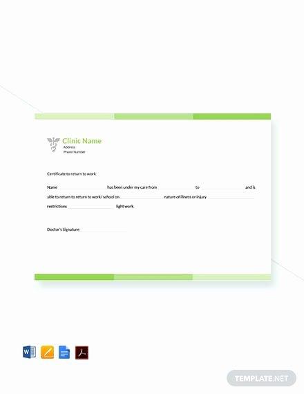 Note Card Template Google Docs Elegant Free Return to Work Doctors Note Template Pdf