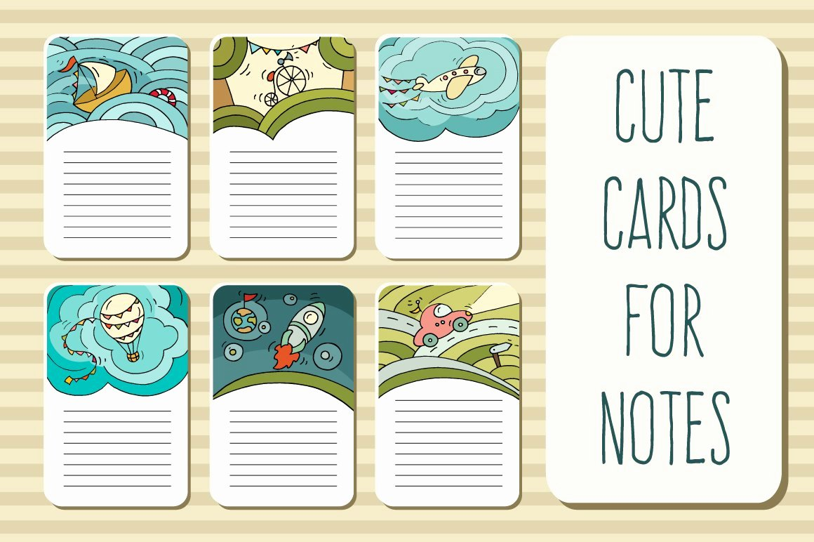 Note Card Template Google Docs Elegant Printable Cards for Notes Card Templates Creative Market