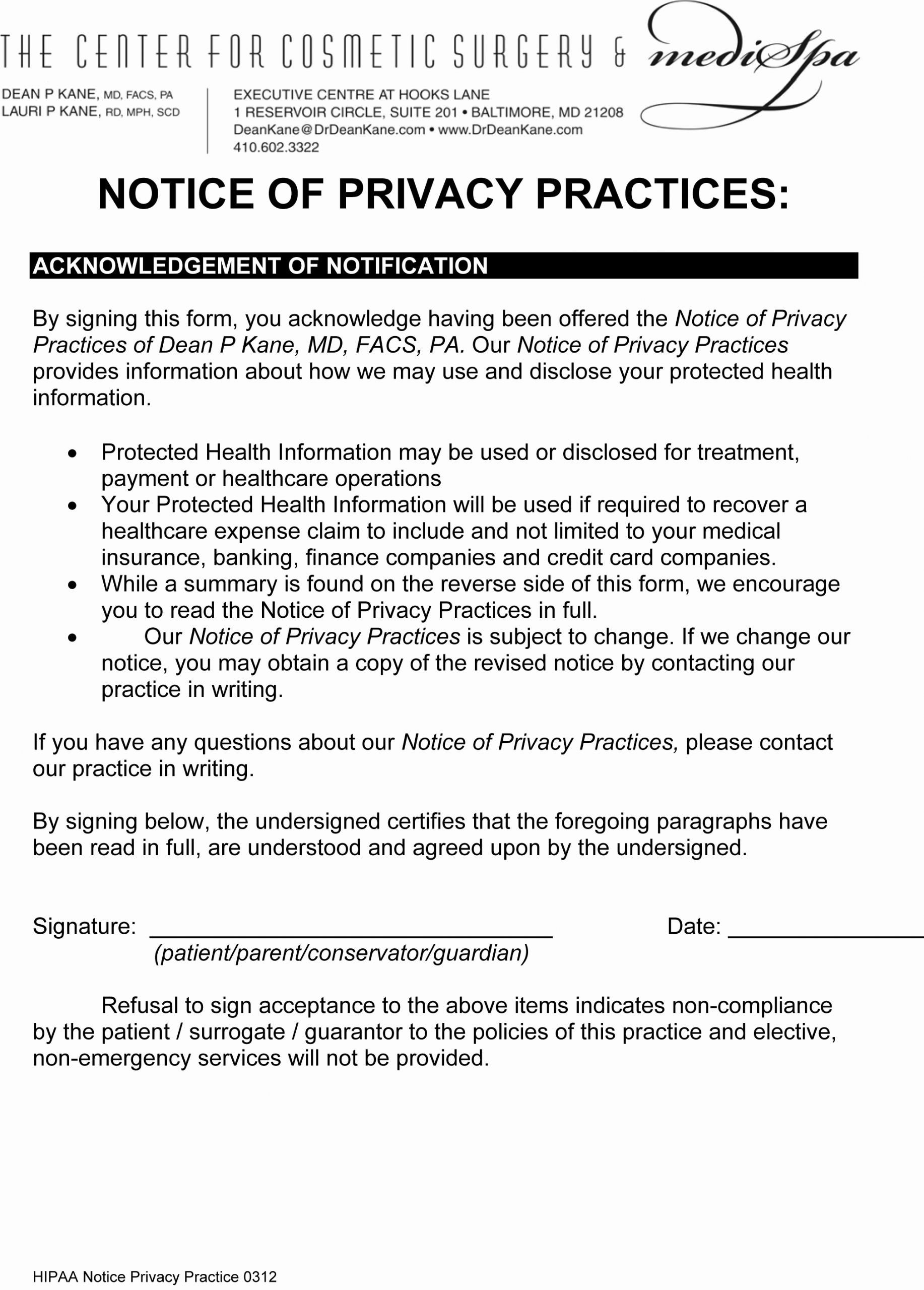 Notice Of Privacy Practices In Spanish Best Of Hipaa form