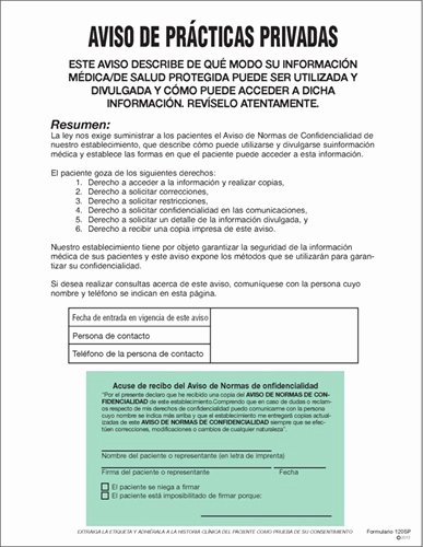 Notice Of Privacy Practices In Spanish Elegant Medical Fice Supplies