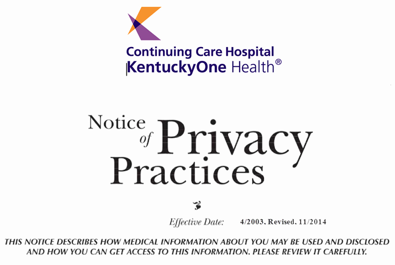Notice Of Privacy Practices In Spanish New Kentucky E Health Continuing Care Hospital Notice Of