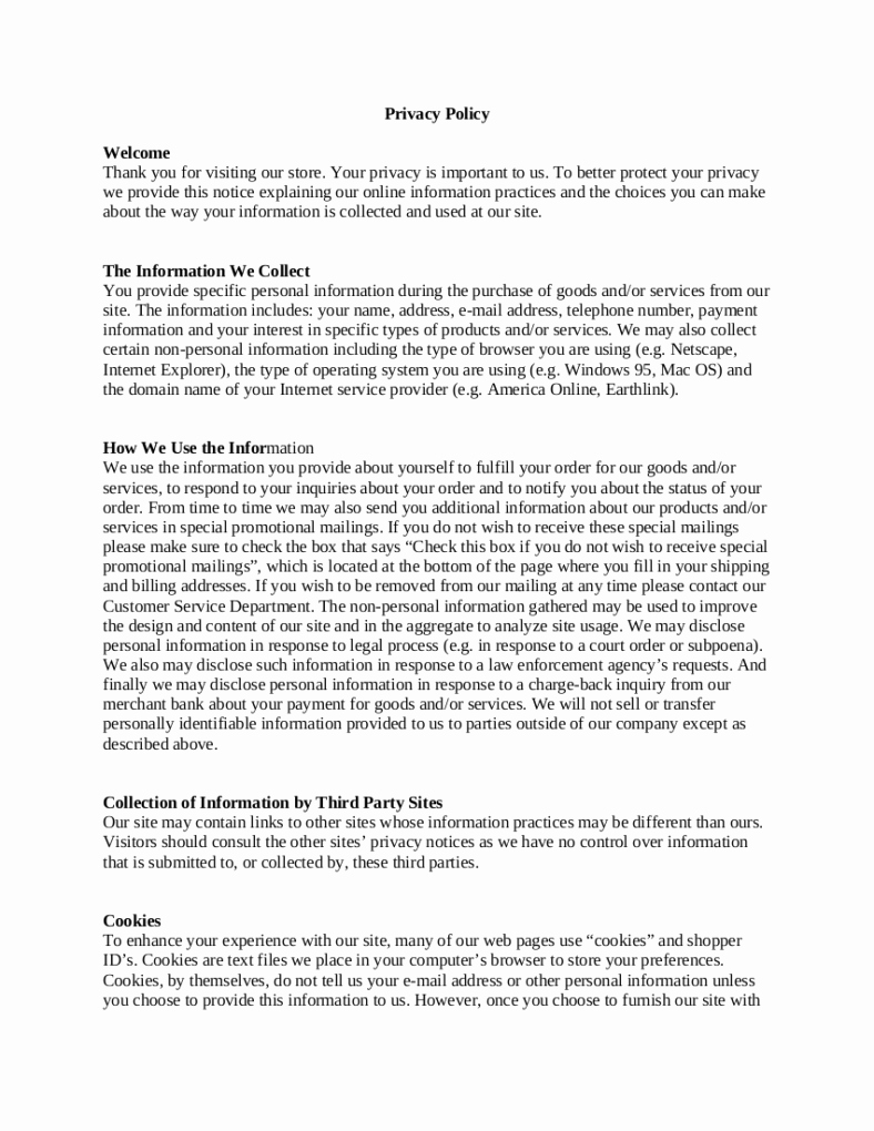 Notice Of Privacy Practices Template 2018 Inspirational 9 Privacy Policy Templates Pdf Doc