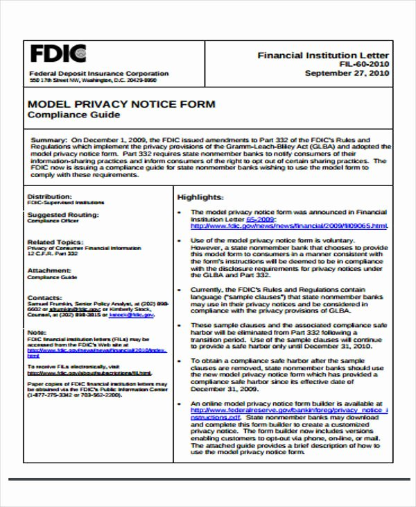Notice Of Privacy Practices Template 2018 Luxury 37 Notice forms In Pdf