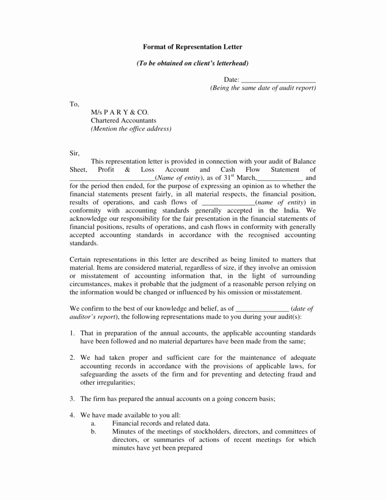 Notice Of Representation Letter New format Of Representation Letter to Be Obtained On Client S