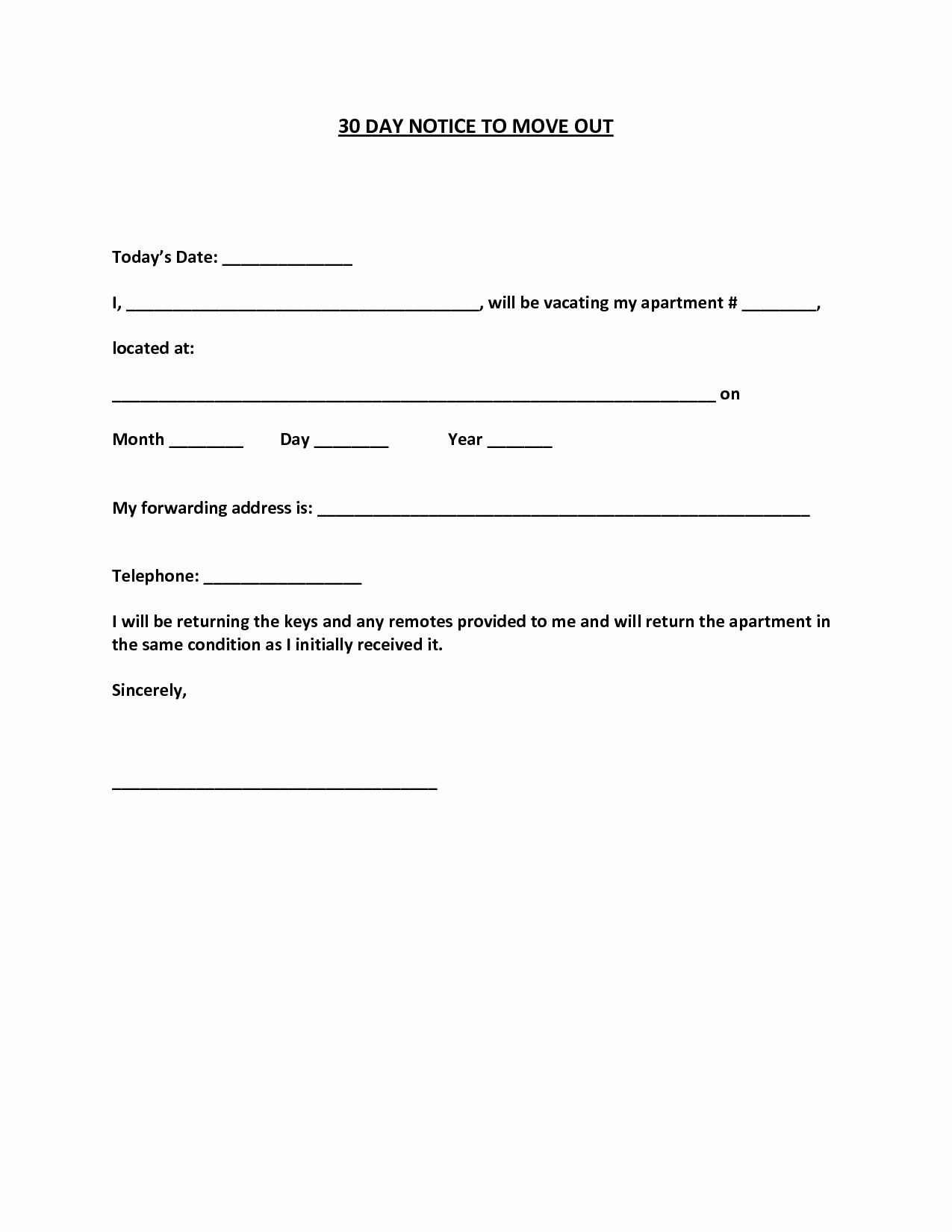 Notice to Move Out Letter New Best S Of 30 Day Notice Template 30 Day Notice