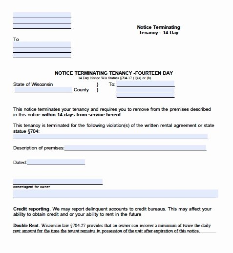 Notice to Quit form Pa Awesome Download Wisconsin Eviction Notice forms