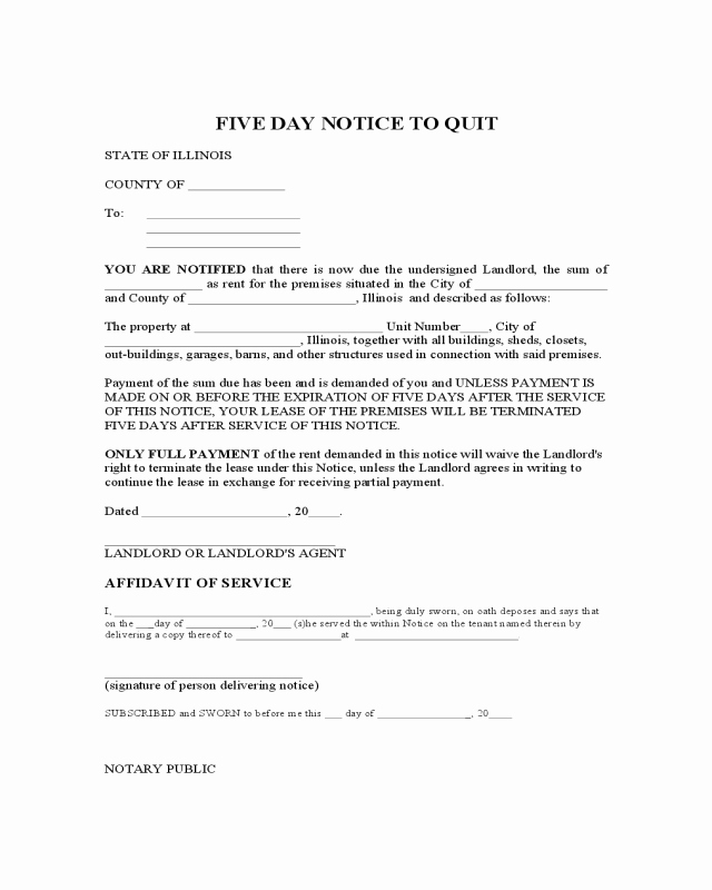 Notice to Quit form Pa Fresh 5 Day Notice to Quit Illinois Edit Fill Sign Line